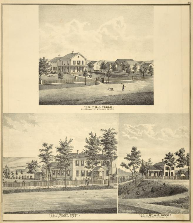 Res. of S.J. Poole, Colesville TP, Broome Co., N.Y.; Res. of Riley Bush, Nineveh, Broome Co., N.Y.; Res. of Dr. W.S. Beebe, Windsor, Broome Co., N.Y.
