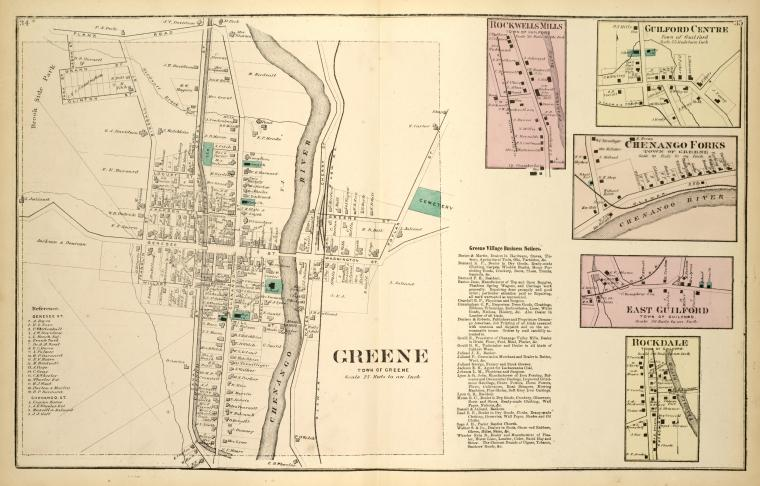Greene [Village]; Rockwells Mills [Village]; Greene Village Business Notices.; Guilford Centre [Village]; Chenango Forks [Village]; East Guilford [Village]; Rockdale [Village]