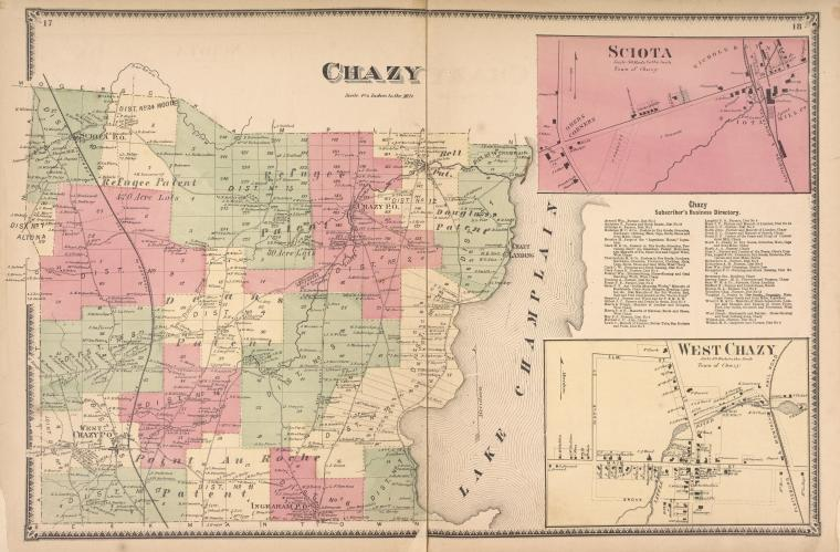 Chazy [Township]; Sciota [Village]; Chazy Subscriber's Business Directory.; West Chazy [Village]
