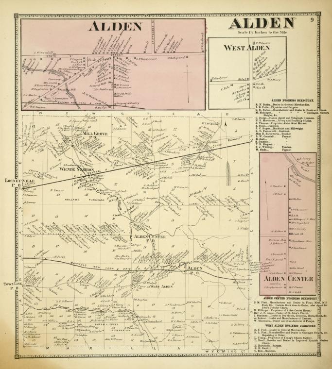 Alden [Village]; Alden [Township]; West Alden [Village]; Alden Business Directory. Alden Center [Village]; Alden Center Business Directory.; West Alden Business Directory.