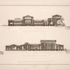 Durchschnitt des Palasts nach der Richtung K. L. C. gegen Norden gesehen; Durchschnitt des Palasts nach der Richtung E. D. gegen Osten gesehen.