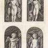 [Four cherubs holding a thurible, a book, a lamp, and an aspergill.]