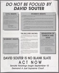 Do not be fooled by David Souter. David Souter is no blank slate. Act now.