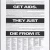 Women don't get AIDS. They just die from it. - Verso: El SIDA no ataca a las mujeres. Solamente las mata.
