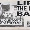 Open the borders! [American flag with Bush and Clinton's heads in place of the stars]  Verso: Lift the HIV ban. Free the Haitian hunger strikers
