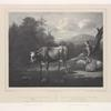 Scene of cow drinking at a stream with shepherdess, from original by Pieter van der Leeuw.]