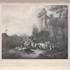 [Scene of shepherdess and shepherd drinking while tending flock, from original by Roos.]