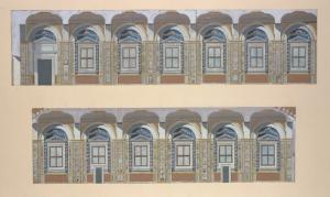 [Views of wall of arched windows and pilasters.]