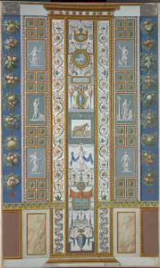 [Pilaster; central decoration contains scenes of centaurs, a bridled horse, and an angel holding a globe.]