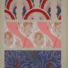 Three designs of organic shapes and women's faces in red, pink, purple.]