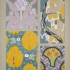 Four designs of flowers, birds, people, in purple, gray, yellow, green.]