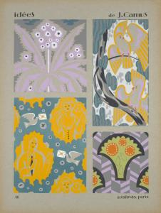 [Four designs of flowers, birds, people, in purple, gray, yellow, green.]