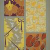 Four designs of flowers, buildings, ribbons, in yellow, orange, red, purple.]