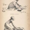 Moyabeng à la meule; Une statuette égyptienne du Musée du Louvre.