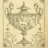 [Center design for urn; cherubs in horse-drawn cart.]