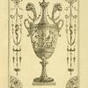 [Central design of an urn; one angel approaching another.]