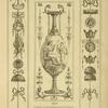[Central design of vase; seated goddess pointing at woman with urn.]