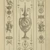 [Central design of urn with garland and man's bust, and two long handles with faces.]