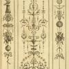 [Central ornamental design with birds, leaves, and face.]