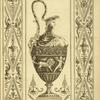 [Central design of urn with scene of cherubs and lion, lion head on handle, man's head on lid.]
