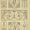 [Central tympanum-shaped design with woman's torso and curling vegetal shapes.]