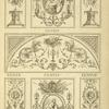 [Central tympanum-shaped ornamental design with curling vegetal shapes, sea-monsters, and birds.]