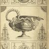 [Central design of urn with handle in shape of snake held by two eagles.]