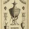 [Central design of urn with snake curled around base.]