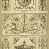 [Central tympanum-shaped design with two swans and a woman's face.]