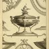 [Central design of urn with designs of women's torsos and cherub and eagle on the lid.]