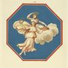 [Octagonal painting of two women riding a cloud and holding wreaths and flowers.]
