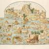 [Large river scene of various animals and people on islands at various activities.]