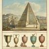 Coupe de la pyramide de C. Cestius. Vases peints dans l'interieur de la pyramide.