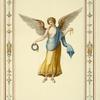 [Female angel holding wreath and gold ribbon.]