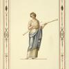[Woman in classical dress holding two long pipes.]