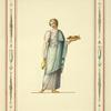 [Woman in classical dress holding vase and platter of food.]