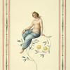 [Partially nude woman sitting on flowering branch.]