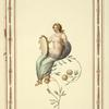 [Partially nude woman sitting on flowering branch, holding tambourine.]