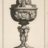 [Ciborium with two cherubs on stem and sleeping boar on lid.]