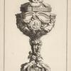 [Ciborium with two amorini and cross on lid.]