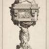 [Ciborium with two cherubs holding commandment tablet on lid.]