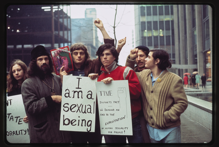 "Manuscripts and Archives Division, The New York Public Library. ""Gay Liberation Front pickets Time, Inc."" The New York Public Library Digital Collections. 1970"