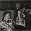 Martha Shelley sells Gay Liberation Front paper during Weinstein Hall demonstration.