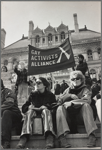 Kate Millett and Linda Clarke at gay rights demonstration, Albany, New York, 1971