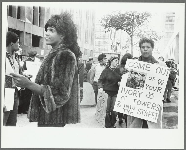 Marsha P. Johnson handing out flyers