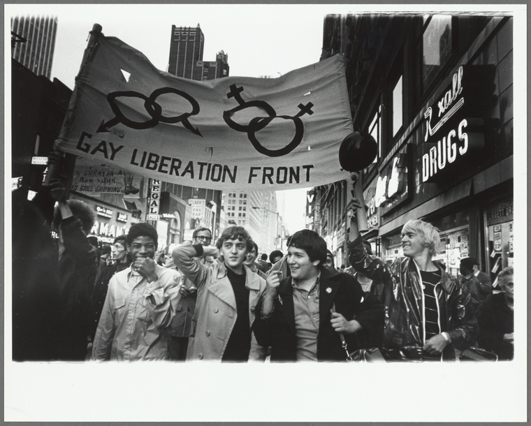 Gay Liberation Front marches on Times Square, New York City. Diana Davies, 1969. Manuscripts and Archives Division.