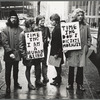 Gay Liberation Front picketing at the Time-Life Building, New York, 1969 (left to right, Linda Rhodes with sign, Lois Hart, Ellen Broidy, Jim Fouratt)
