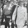 "Ellen Broidy (also known as Ellen Bedoz), with ""Lavender Menace"" t-shirt, Dolores Bargowski (in the middle, with t-shirt) and Rita Mae Brown (in uniform), march in the Christopher Street Liberation Day march, 1970."
