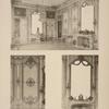 Salon dit des pendules; 1. Ensemble du salon; 2. Motif des panneaux de menuiserie; 3. Cheminée.