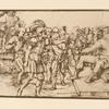 Drawing of soldier approaching king, surrounded by crowd